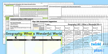 PlanIt - Geography KS1 - What a Wonderful World Unit Assessment Pack - planit, geography, ks1, what a wonderful world, unit, assessment, pack