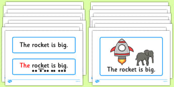 Space Themed Simple Sentence Cards - ESL Sentence Resources