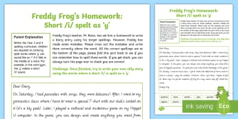 Short /i/ spelt as  'y'   Freddy Frog Homework Activity Sheet