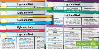 Light and Dark Lesson Plan and Enhancement Ideas EYFS - light and dark, EYFS, lessons