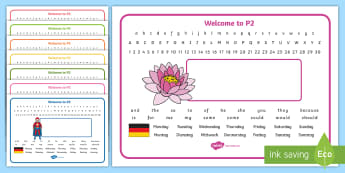 Welcome to P2 (with German) Desk Mats - Start Of Year, Name Label, Desk Names, Editable, Start Of P2, German,Scottish