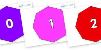 Numbers 0-100 on Octagons - 0-100, foundation stage numeracy, Number recognition, Number flashcards, counting, number frieze, Display numbers, number posters