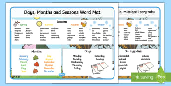 Days, Months and Seasons Word Mat English/Polish - Days, Months and Seasons Word Mat - days, months, seasons, word mat, seaons, wordmat, EAL,Polish-tra
