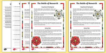 The Battle of Bosworth Differentiated Reading Comprehension Activity