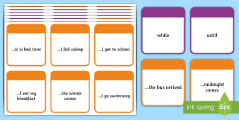 KS2 Time Conjunctions Number 2 Card Game - time, connective, conjunctions, time connectives, time conjunctions, Y3, Year 3, Y4, Year 4, SPaG, G