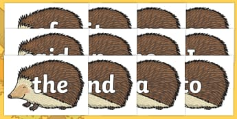 100 High Frequency Words on Hedgehogs - High frequency words, hfw, DfES Letters and Sounds, Letters and Sounds, display words
