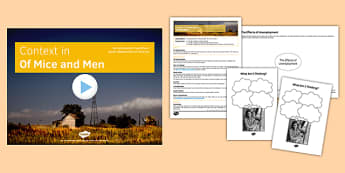 Context in Of Mice and Men Lesson Pack - context, of mice and men, lesson, pack