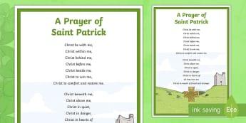 A Prayer of Saint Patrick A4 Display Poster - ROI - St. Patrick's Day Resources, Saint Patrick, prayer, Ireland, march 17th, a prayer of saint pa