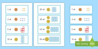 Centmünzen Wert mit Würfeln darstellen: DIN A4 Karteikarten  - Euro, Cent, Geld, Zahlen, Münzen, Scheine, ,German