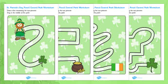 St Patricks Day Pencil Control Path Worksheets - control path