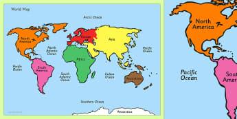 Montessori Colour Coded World Map - montessori, colour, coded