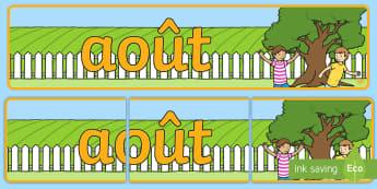Banderole d'affichage : Août - Les mois de l'année - août, August, banderole, banner, display, panneau d'affichage, mois, months, year, année, cycle 1
