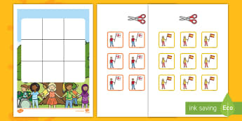 Three in a Row Harmony Day Activity -  EYLF, Foundation, Game, Numeracy, Problem Solving, Counting, flags, French, Uk, Indonesian flag,Aus