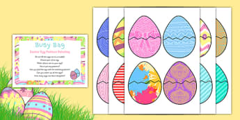 Easter Egg Pattern Matching Busy Bag Prompt Card and Resource Pack - Easter, colour, patterns