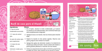 Coconut Ice Squares Diwali Recipe English/Spanish - Diwali, EAL, recipes, burfi, festival, celebration, cuisine, kitchen, cooking, Hindu, Hindi, Hinduis