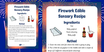 Firework Edible Sensory Recipe - firework, edible, sensory, recipe, cook, food
