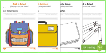 Back to School Read Trace Write Colour Activity Sheets - School, German, Schule, Back to School