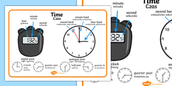 Time Vocabulary Word Mat English/Polish - Time Vocabulary Word Mat - time vocabulary, word mat, writing aid, mat, vocabulary, time, day, secon