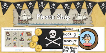 Pirate Role Play Area - Pirates, pirate, ship, role play, Display signs, display, labels, pack,  treasure, ship, jolly roger, ship, island, ocean
