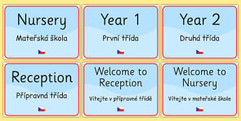 School Year Group Signs EAL Czech Version - group signs, EAL