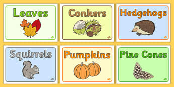 Editable Class Group Signs (Autumn) - Autumn, group signs, group labels, group table signs, table sign, teaching groups, class group, class groups, table label, harvest,  harvest festival, fruit, apple, pear, orange, wheat, bread, grain, leaves, conk
