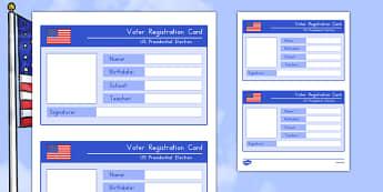 Voter Registration Card Activity Sheet, worksheet