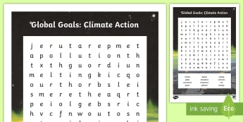 Global Goals Climate Action Word Search - Skim, scan, keyword, wordsearch, global issues, global citizenship, global warming, carboon footprin