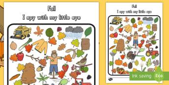 Fall Themed I Spy Activity - fall, autumn, seasons, science, activity, game