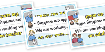 'Working With' Table Signs - Group table signs, table sign, group signs, working sign
