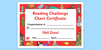 Reading Challenge Chart Certificates Traditional Tale Themed - Challenge Chart Certificates, Traditional Tale Themed Certificate, Reading Certificate