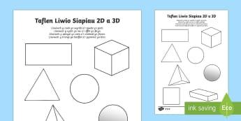 Taflenni Lliwio Siapiau 2D a 3D - Siâp 2D, defnyddio sgiliau geometreg, Siâp, siap, Siap, enwau siapiau 2D, cylch, Cylch, Sgwar, sgw