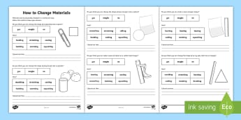 How to Change Materials Activity Sheets - ACSSU018, chemcal scence year 1,  physically changed, twisting, scrunching, changing shape,Australia
