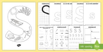 Consolidarea literei S Broșură  - alfabetul, alfabetar, litere, sunete, grafisme,Romanian