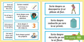 Scriere creativă Cartonașe cu provocări - Fun Ideas, Romanian