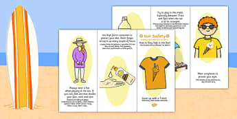 Sun Safety Leaflet Polish Translation - seasons, beach, bilingual, summer