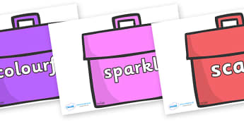 Wow Words on Book Bags - Wow words, adjectives, VCOP, describing, Wow, display, poster, wow display, tasty, scary, ugly, beautiful, colourful sharp, bouncy