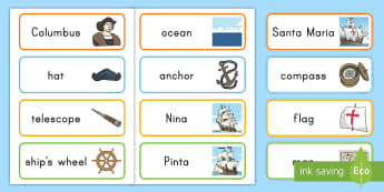 Columbus Day Word Cards - columbus day, word cards, columbus day word cards, pre-k social studies, kindergarten social studies