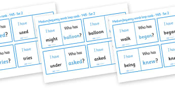 Medium Frequency Words Loop Cards Set 2 (Y4 & Y5) - medium frequency words, loop cards, set, set 2, frequency words, words, medium, Y4, Y5, year 4, year 5, five, four, year, loop cards, cards, flashcards, loop, image
