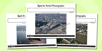 Spot it Aerial Photographs Activity Sheet, worksheet