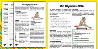 KS2 Rio 2016 Olympic Games Differentiated Reading Comprehension Activity