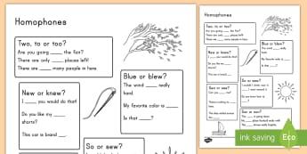 Homophones Activity Sheet - literacy, grammar, English, language, worksheet, word work, daily five