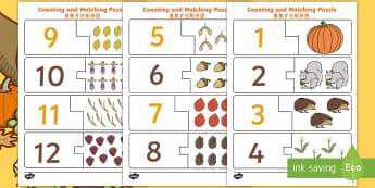 Autumn Themed Counting Puzzle English/Mandarin Chinese - Autumn Themed Counting Puzzle - seasons, weather, count, maths, autmn, autunm, atumn, waether, aurum