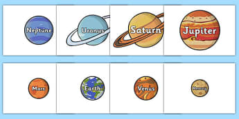The Planet Names Words on Planets - plant, space, space display