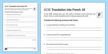 GCSE French: Translation into French - Foundation Tier Activity Sheet 10, worksheet