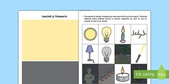 Întuneric și lumină Decupează și lipește-Romanian