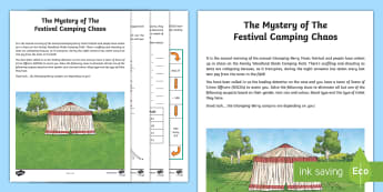 UKS2 The Mystery of the Festival Camping Chaos Maths Game - murder mystery, coordinates, angles, decimals, end of term