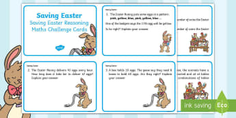 Year 2 Saving Easter Reasoning Maths Challenge Cards - Children's Books, story, book, Easter, save, saving, Easter Bunny, bunny, bunnies, stories, chick,