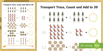 Pirate Trace, Count and Add to 20 Activity Sheet - adding, addition, counting, twenty, up to, Welsh, Worksheet