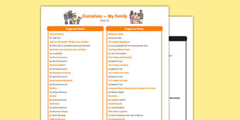 All About Me and Ourselves: My Family Book List