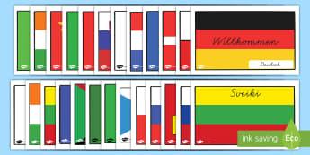 Internationale Willkommen Flaggen mit Ländernamen Poster für die Klassenraumgestaltung - Internationale Willkommen Flaggen mit Ländernamen Poster für die Klassenraumgestaltung, Internatio